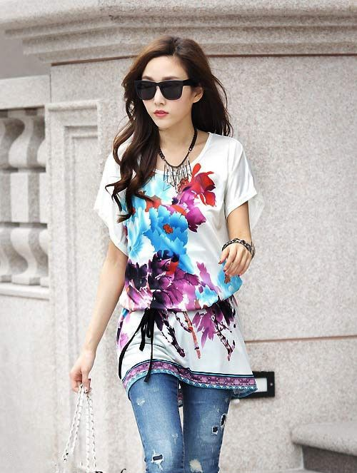 2015 new fashion women casual blouse shirts purple flowers printing noble sexy  large blouses (with the belt)  smooth shirts - http://www.styliate.com/products/2015-new-fashion-women-casual-blouse-shirts-purple-flowers-printing-noble-sexy-large-blouses-with-the-belt-smooth-shirts/