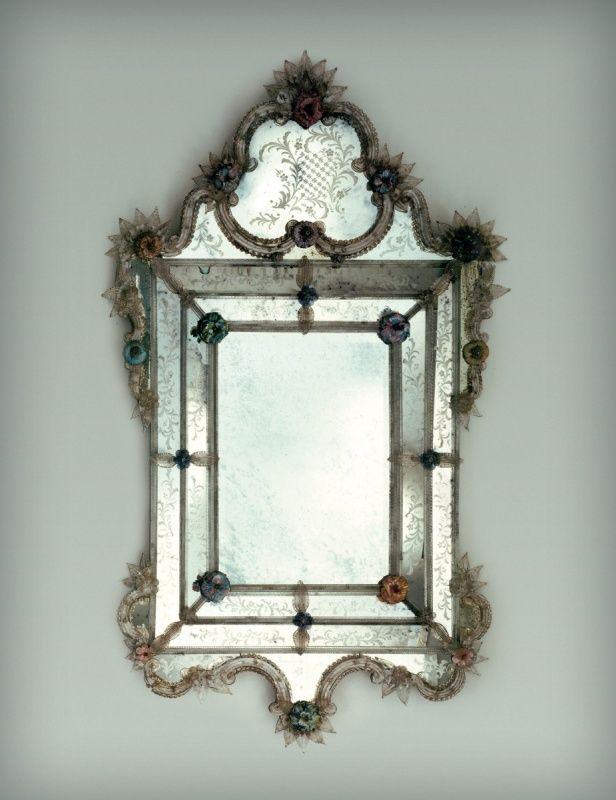 Minimalist Murano Glass Floral Decorated Mirror Makes Your Home Extraordinary Photos - Luxury venetian glass mirror Elegant
