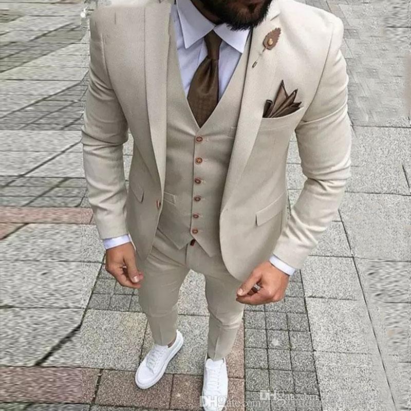 Men Beige Suit Beach Linen Suit Groom Tuxedos Wedding Prom Party Suit Custom