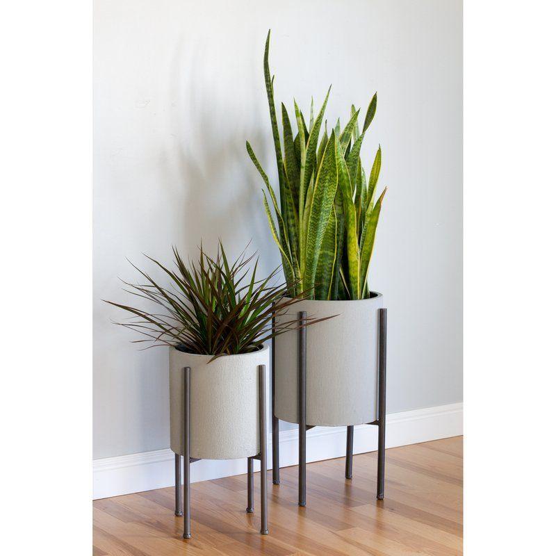 Tania Mid Century 2 Piece Iron Pot Planter Set Amp Reviews