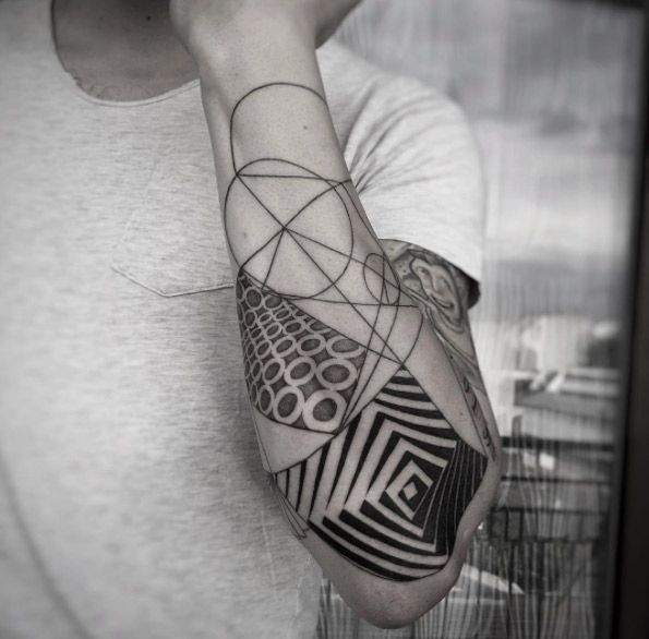Geometric Half Sleeve Tattoo By Balazs Bercsenyi