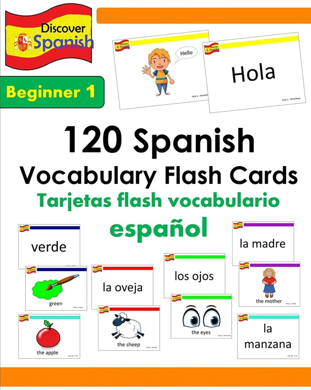 120 Spanish Vocabulary Flash Cards Beginner 1 Set In