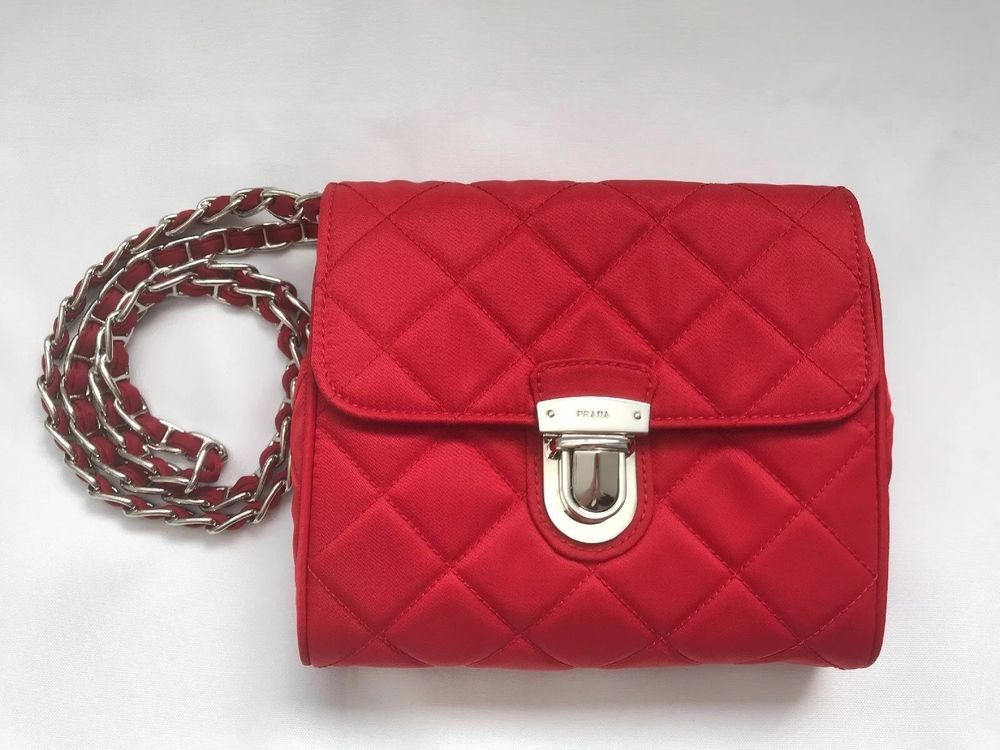 b9a197401879 PRADA Rosso Red Tessuto Impuntu Pattina Nylon Cross Body Bag BP0623 2 Way  NWB