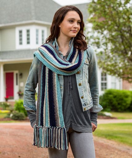 Stylish Stripes Scarf Free Crochet Pattern By Laura Bain For Red
