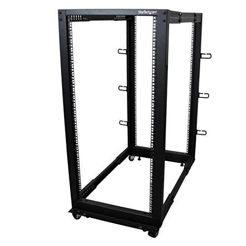 Awesome Startech Com 25u Adjustable Depth Open Frame 4 Post Server Rack Cabinet With Casters Levelers And Cable Management H Server Rack Open Frame Patch Panel