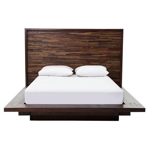 Larson Modern Classic Variegated Wood Headboard Platform Bed Queen Contemporary Platform Bed Wood Platform Bed Contemporary Bed