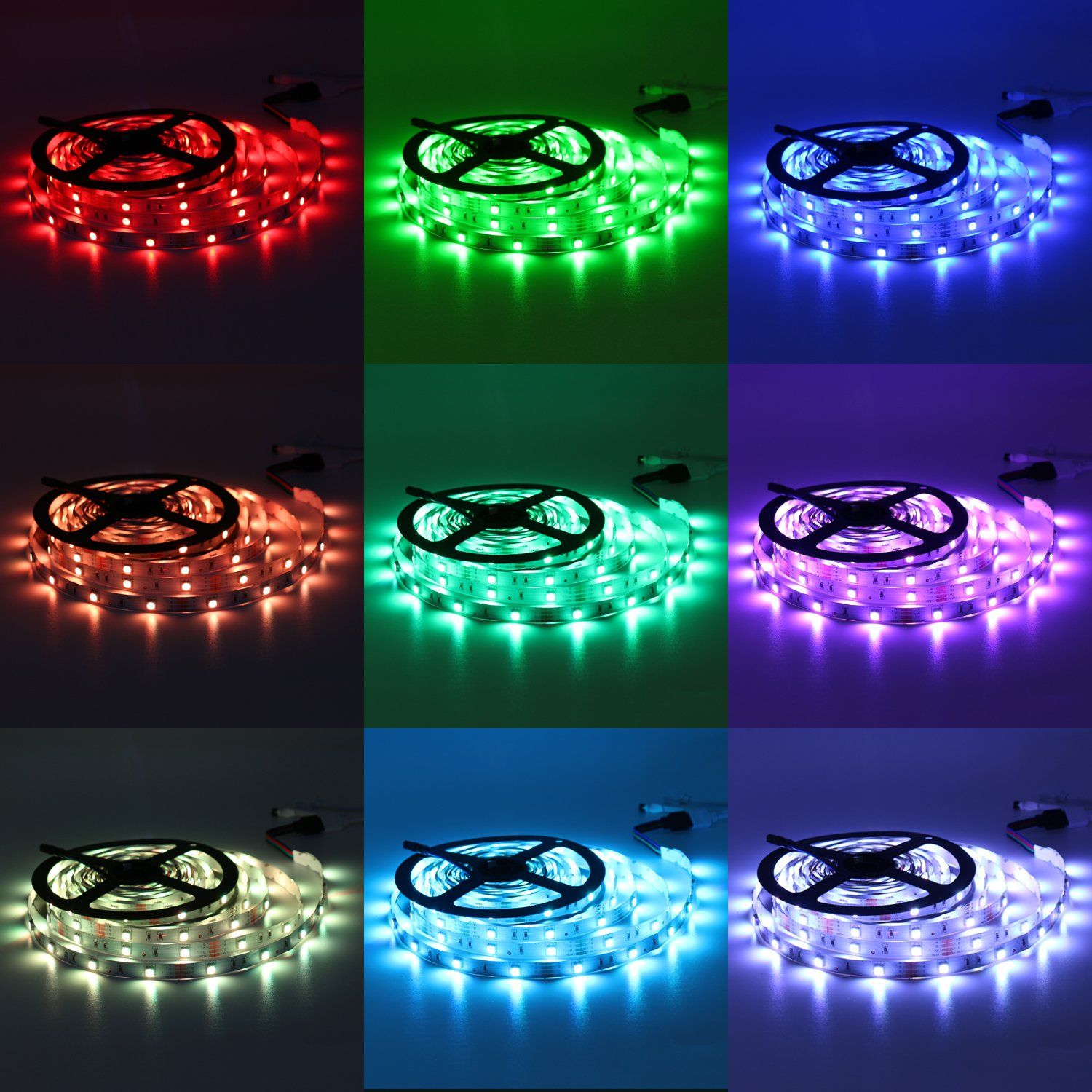 Led Strip Lights Kit A 32 8ft 300 Leds Smd 5050 Rgb Light With 44 Key Remote Controller And Power Adap Led Strip Lighting Strip Lighting Rgb Led Strip Lights