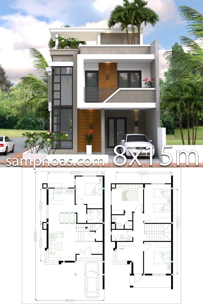 Home Design Plan 8x15m With 4 Bedrooms Samphoas Plan Minimalist House Design Modern House Design Model House Plan