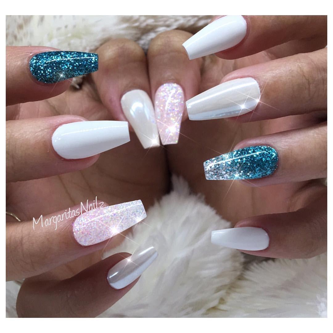 Blue glitter ombr 233 stiletto nails - White And Teal Glitter Ombr Chrome Coffin Nails Trending Nail Art Design Spring Nail Fashion Summer