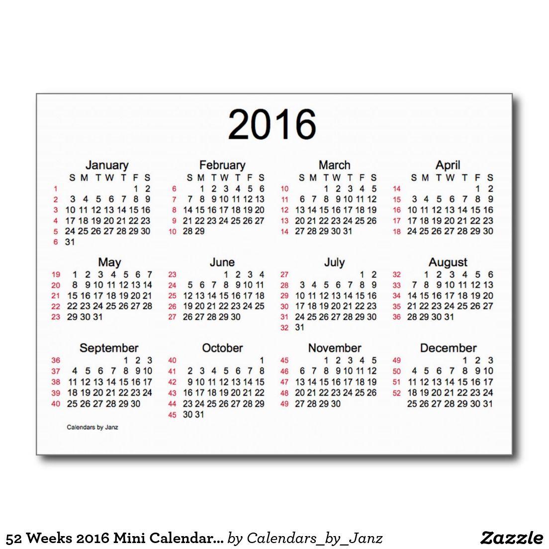 52 Weeks 2016 Mini Calendar by Janz Postcard   ☺PIN YOUR WORK! PINE ...