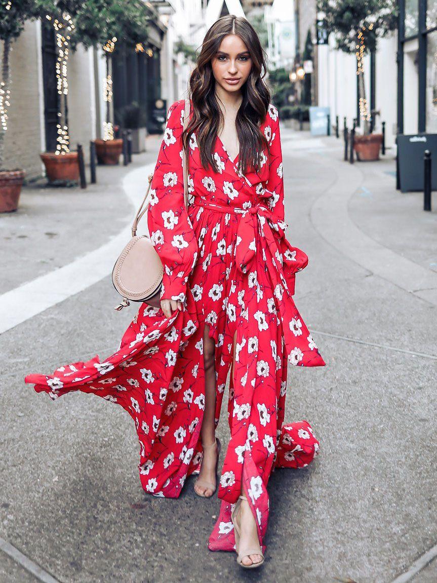 New red v neck floral long dresses work uniform pinterest