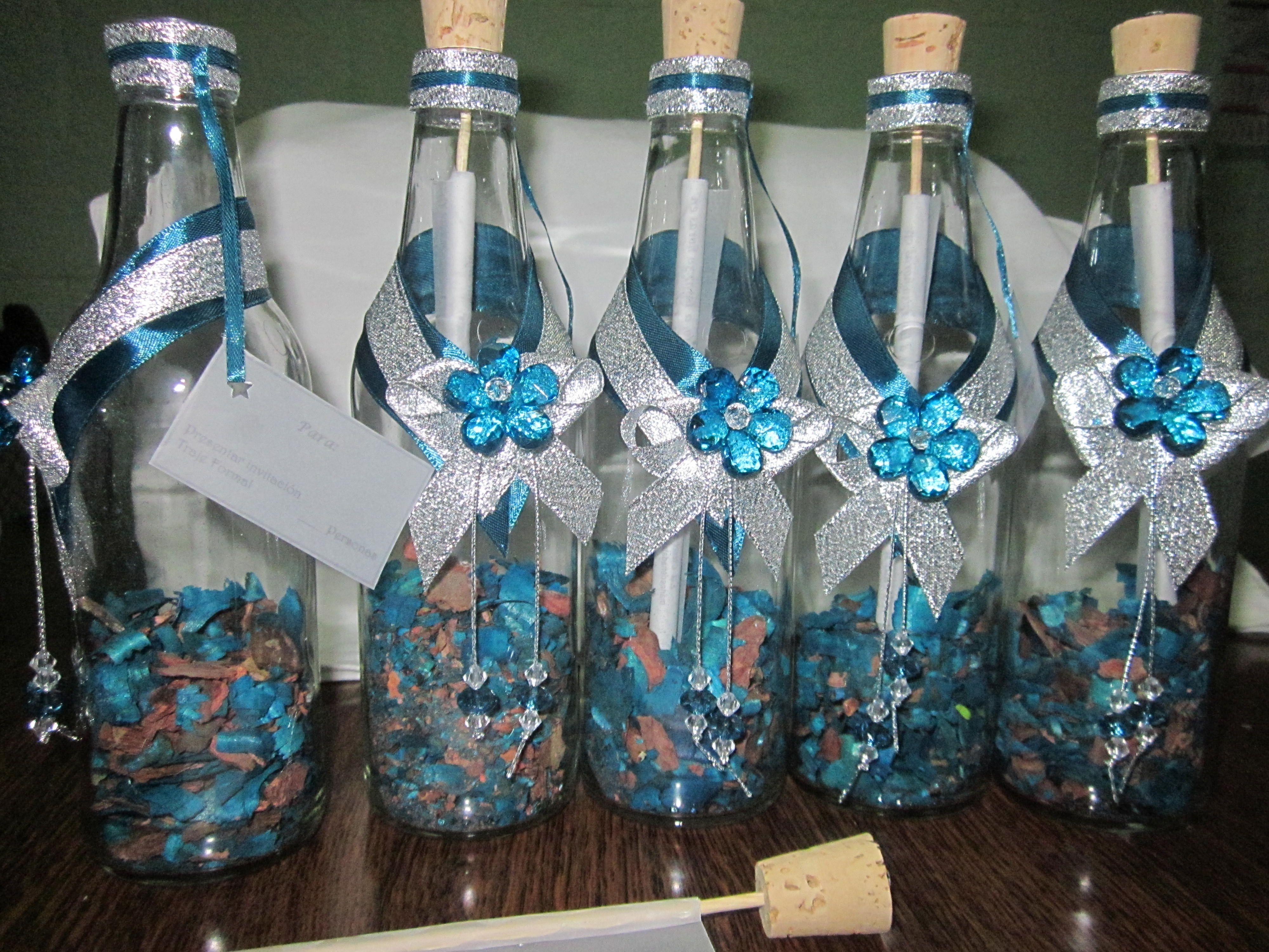 Invitaci n con popourri y decoraci n en acr lico - Decoracion de botellas ...