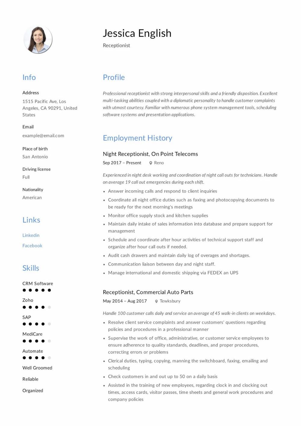 Receptionist Resume Examples 2019 Receptionist Resume Samples 2020 Receptionist Resume Examples Reception Resume Examples Resume Skills Medical Receptionist