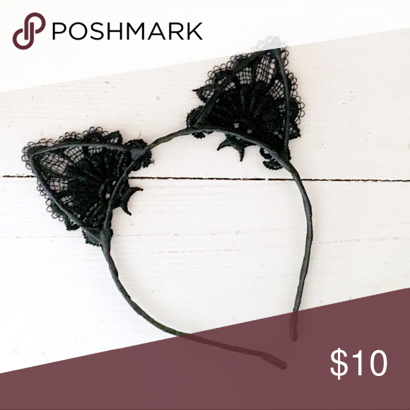Nwt Black Lace Cat Ears For Halloween Black Lace Ear Fashion Design