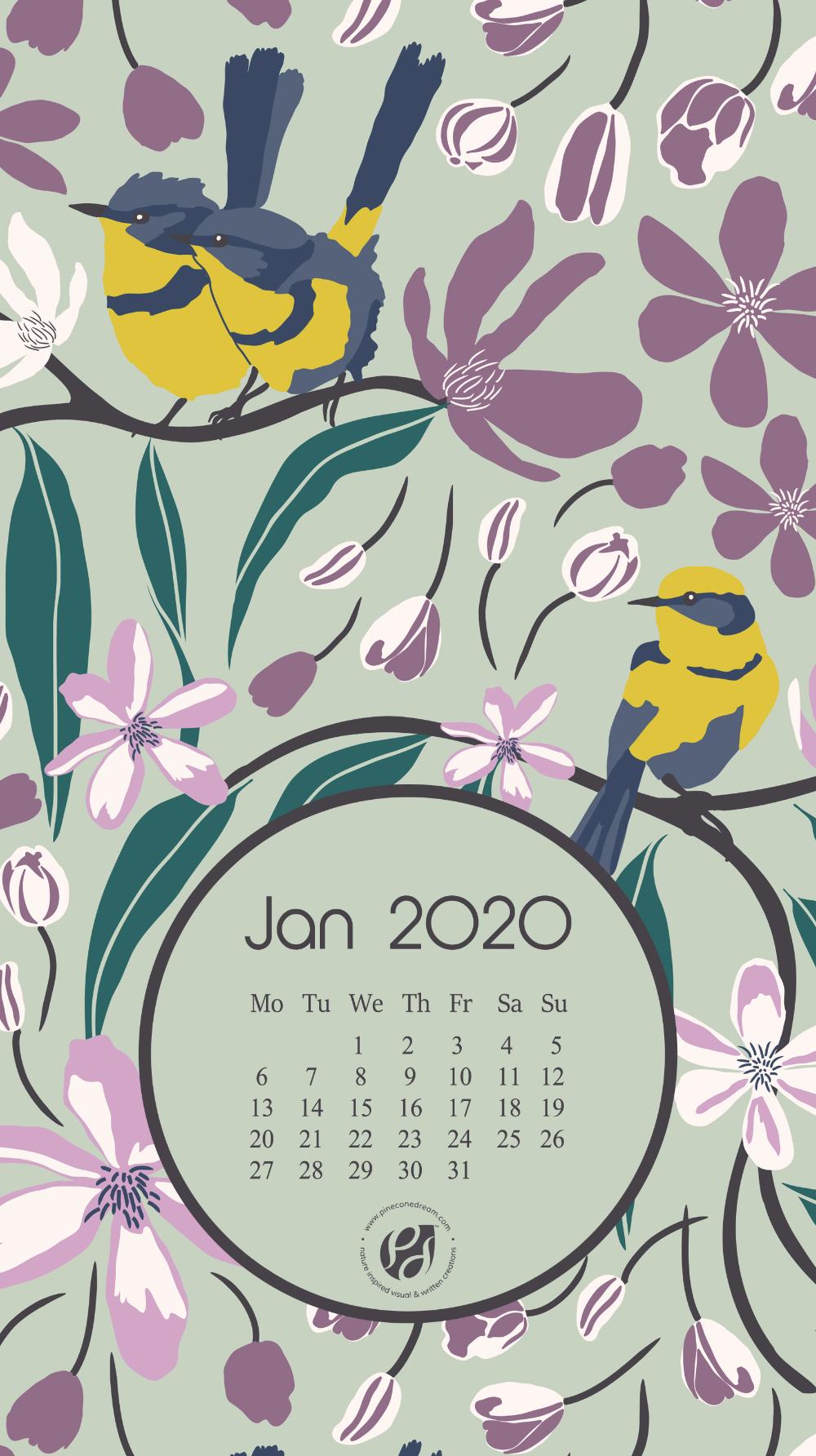 Jan 2020 free calendar wallpapers & printable planner