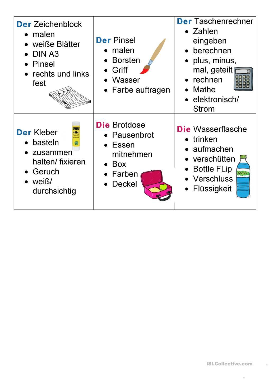 Schulsachen Tabu Differenziert | Schulsachen, Deutsch und Lernen