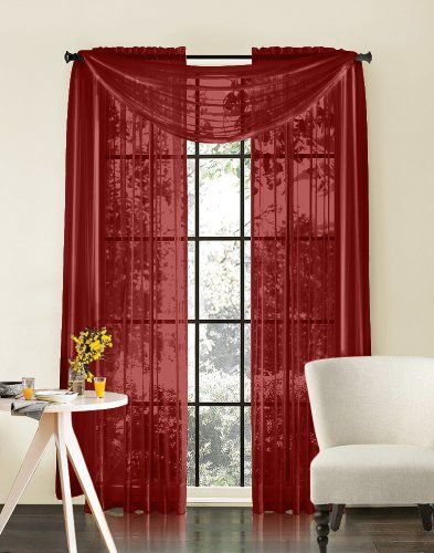 Sheer curtains, Sheer curtain panels and Burgundy on Pinterest