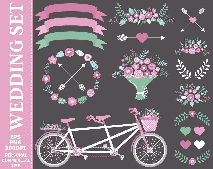 Digital Wedding Clip Art - Tandem Bicycle, Purple Flowers ...