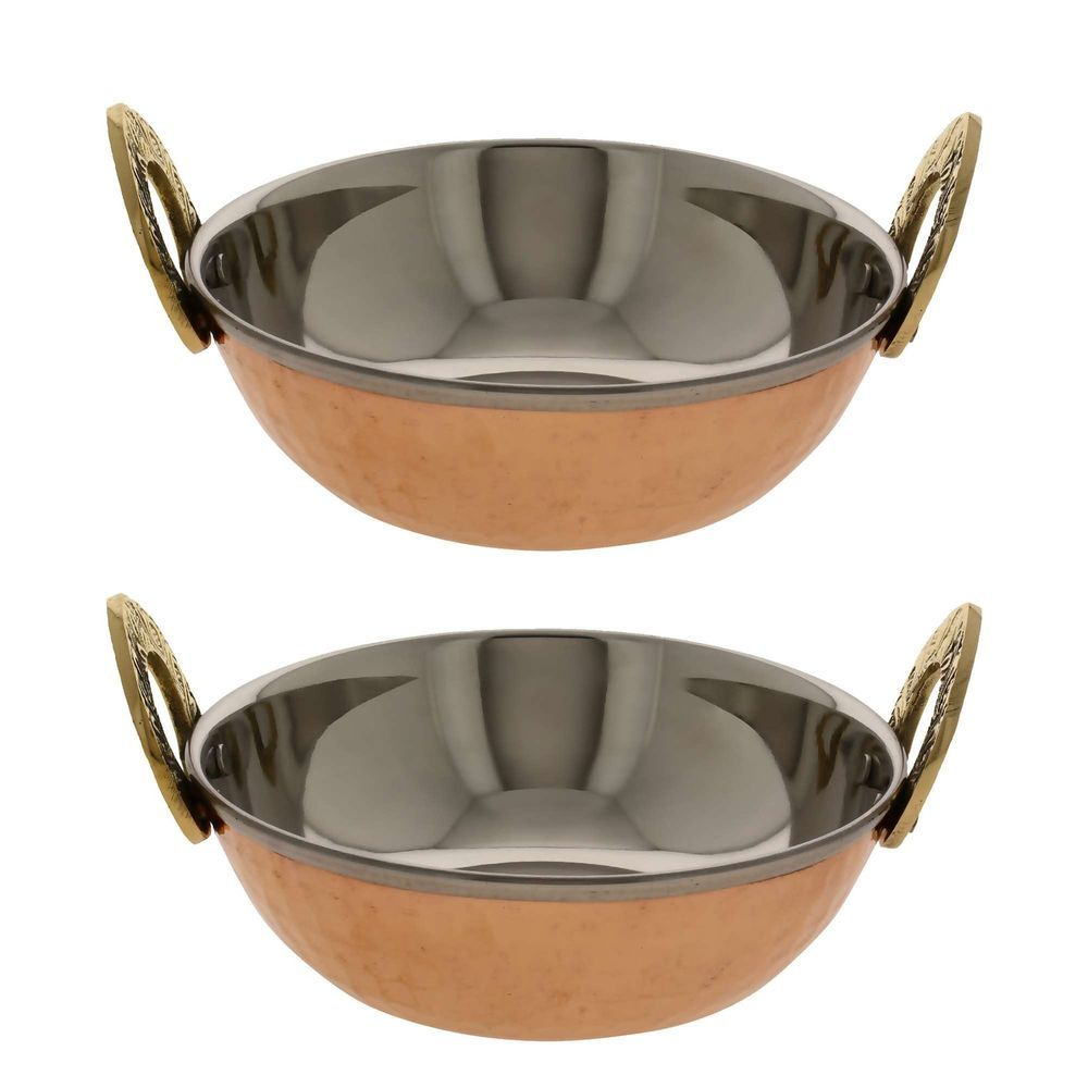 Copper Serving Bowl Karahi Indian Food Serveware Set of 2-Diameter 5 ...