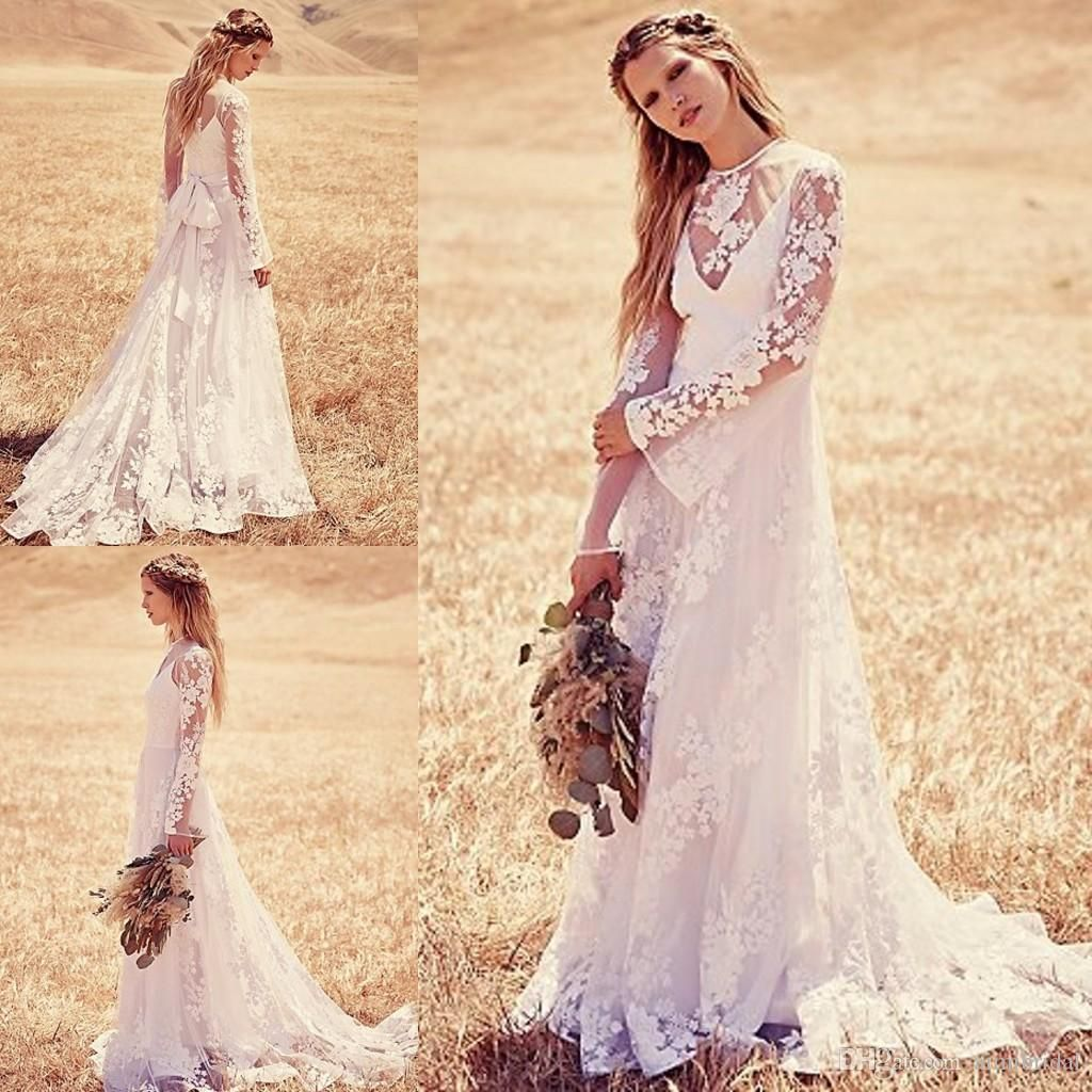 Vintage lace bohemian wedding dresses 2015 a line jewel for Hippie vintage wedding dresses