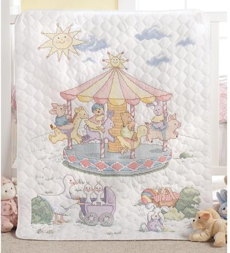 Little Carousel Crib Cover - Stamped Cross Stitch Kit | Cross ... : stamped cross stitch baby quilts - Adamdwight.com