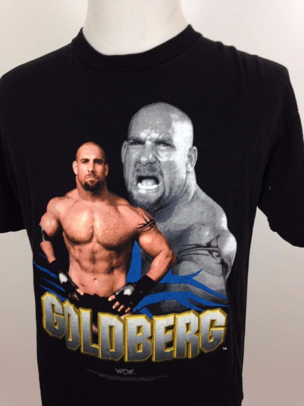 Vintage 1998 WCW Bill Goldberg T-Shirt Black Large 90s Wrestling