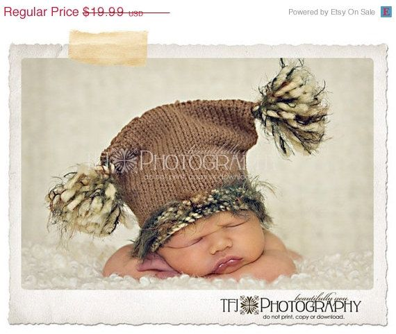 ON SALE Sack Hat Knit Baby Hat Cafe Brown Bulky by OneDayAtAThyme ...