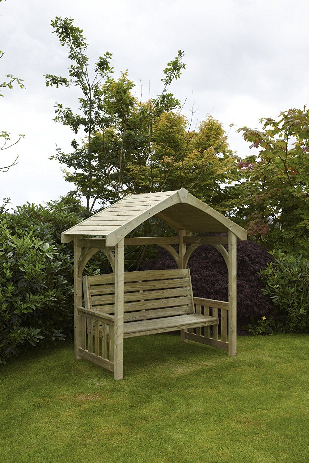 HGG Wooden Covered Garden Bench Arbour - Outdoor Patio Solid Wood ...