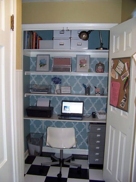 Stenciled and Checkered Closet Office like the idea of a bold