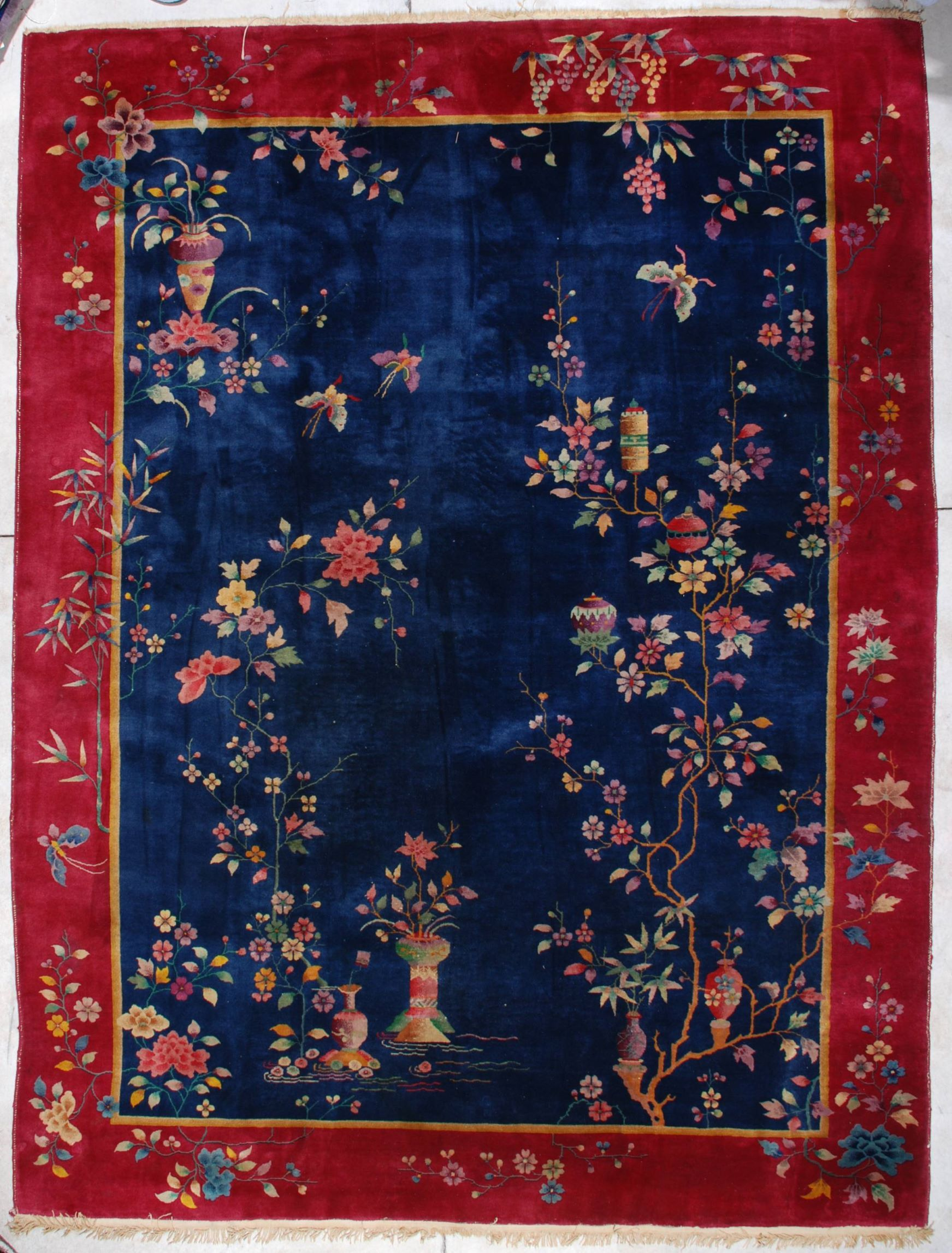 "516b2a94e2b1 This circa 1920 Art Deco Chinese Oriental carpet measures 8 9"" X 11 8"". It  has a uni-directional floral design with a very interesting twist…some of  the ..."