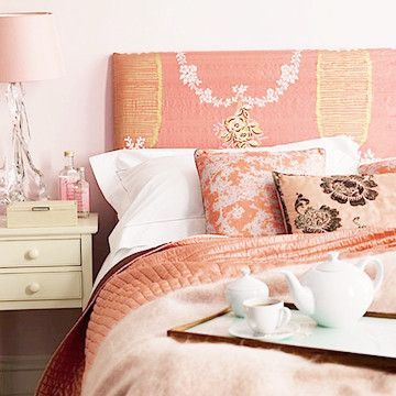 Repeating the same color but using different styles and patterns, gives bedding an amazing look when remodeling your bedroom.