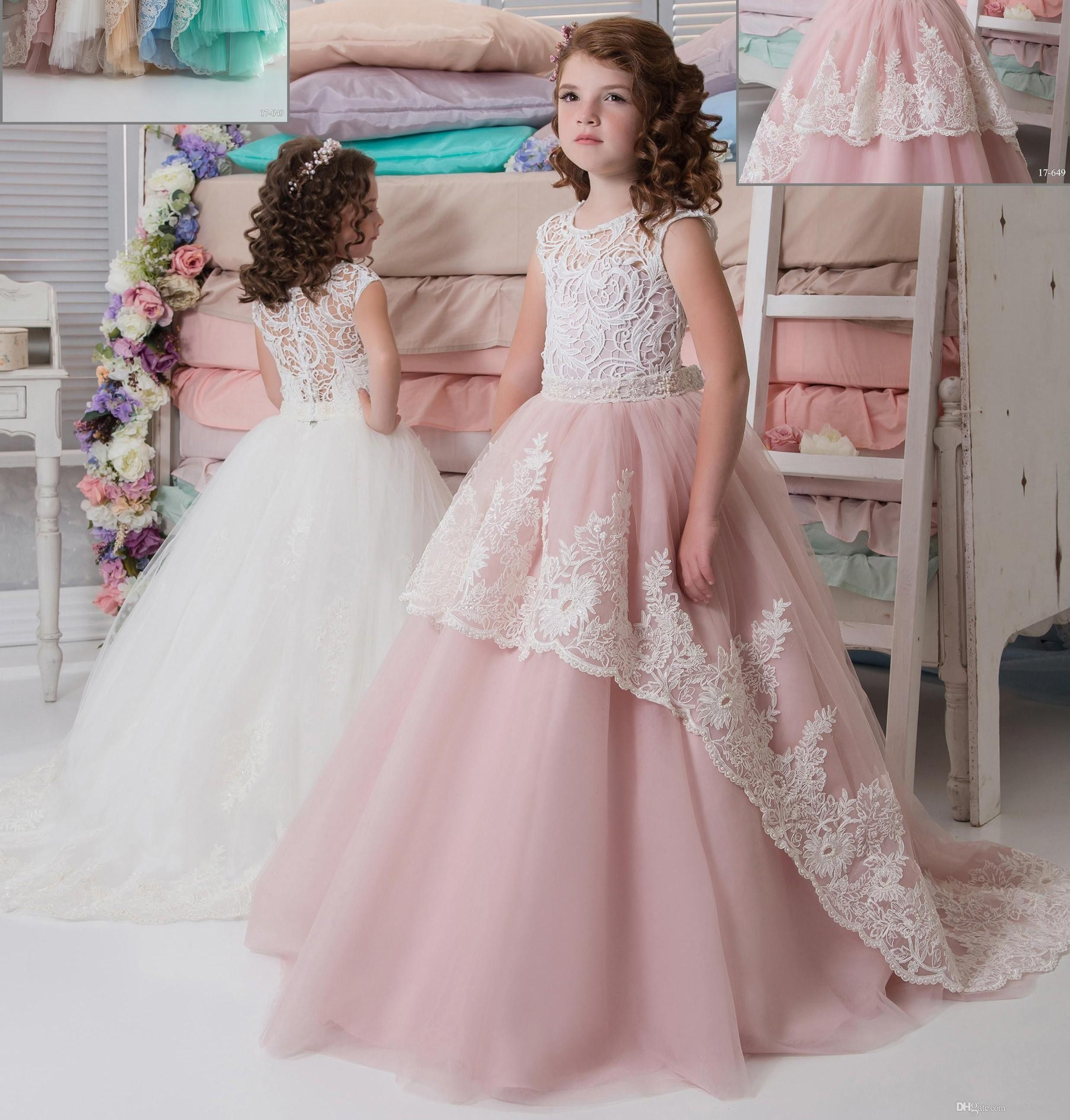 7934da3cd887 Lace Beaded Arabic 2017 Flower Girl Dresses Crew Ball Gown Vintage ...