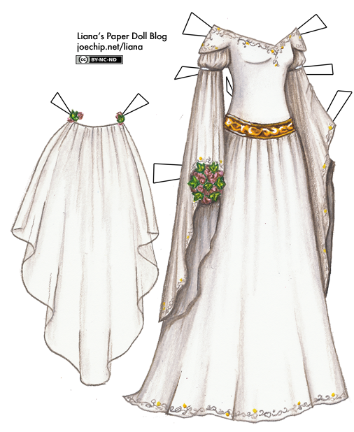 White Medieval Wedding Gown With Long Sleeves And Gold And