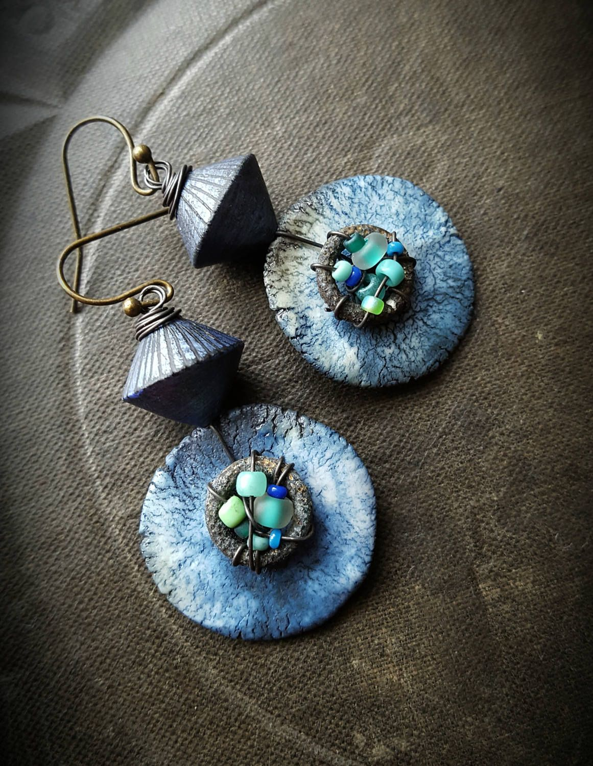 Polymer Clay, Artisan Made, Porcelain, Discs, Copper, Wire Wrapped ...