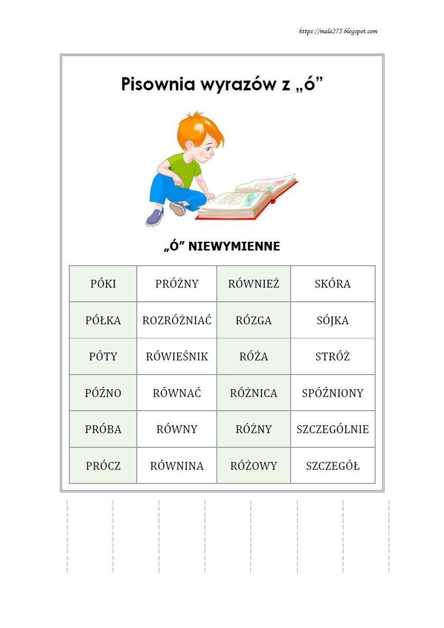 Blog Edukacyjny Dla Dzieci Wyrazy Z O Niewymiennym Learn Polish Polish Language Education