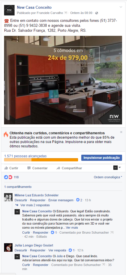 Gestão de mídias sociais - New Casa Conceito