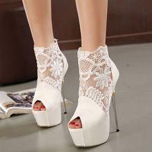 d3abe44b Tacones blancos zapatos de tacón de aguja mujeres plataforma abierta Toe  verano botas de estilo de moda negro Sexy sandalias en línea(China  (Mainland))
