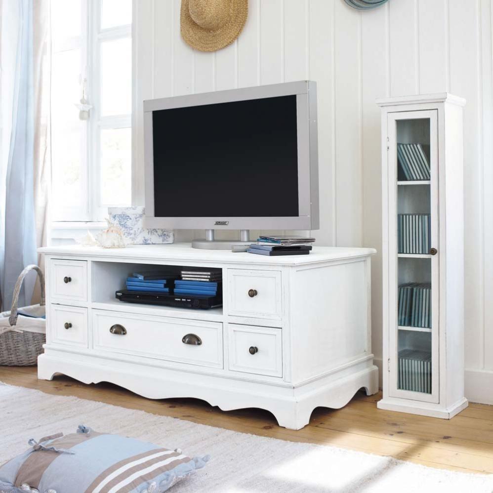 bon Meuble TV en bois de paulownia blanc L 117 cm