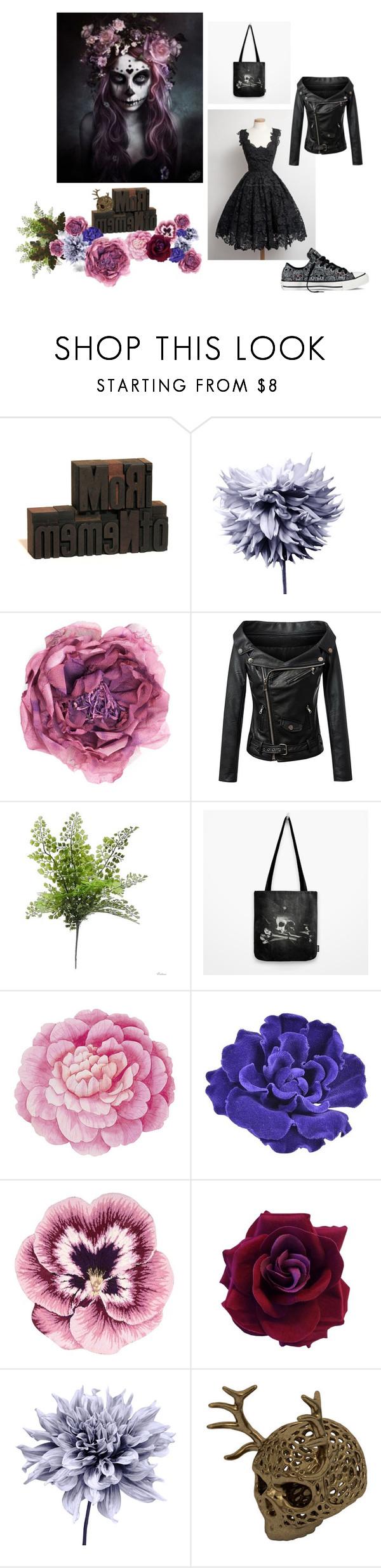 """Memento Mori"" by vegetarian-wolf ❤ liked on Polyvore featuring Art Addiction, Gucci, Chicnova Fashion, WALL, Converse, Ballard Designs, Chanel, Nourison and backtoskull"