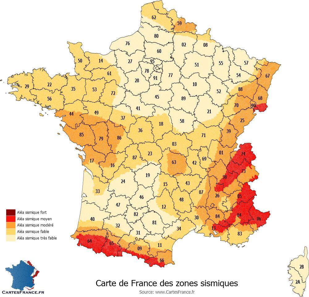 Carte des zones sismiques de France métropolitaine Carte