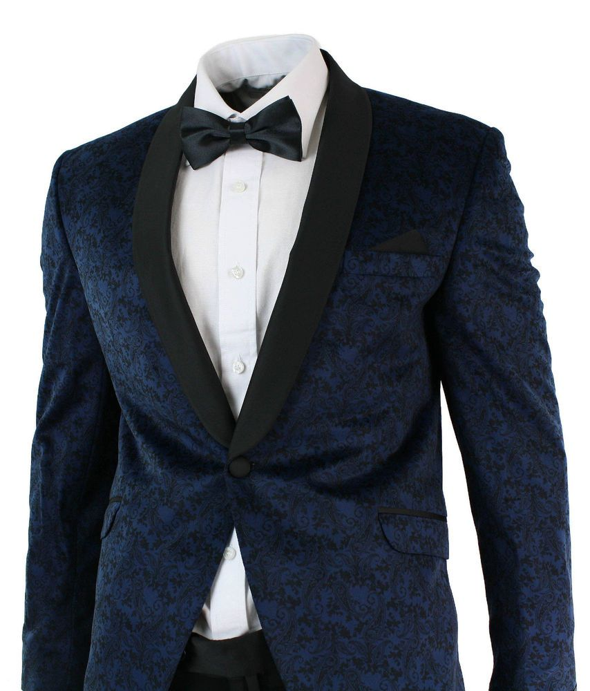 e5b5e2a2c49 Mens Slim Fit Velvet Paisley Blazer & Trouser Tuxedo Dinner Suit Blue Black