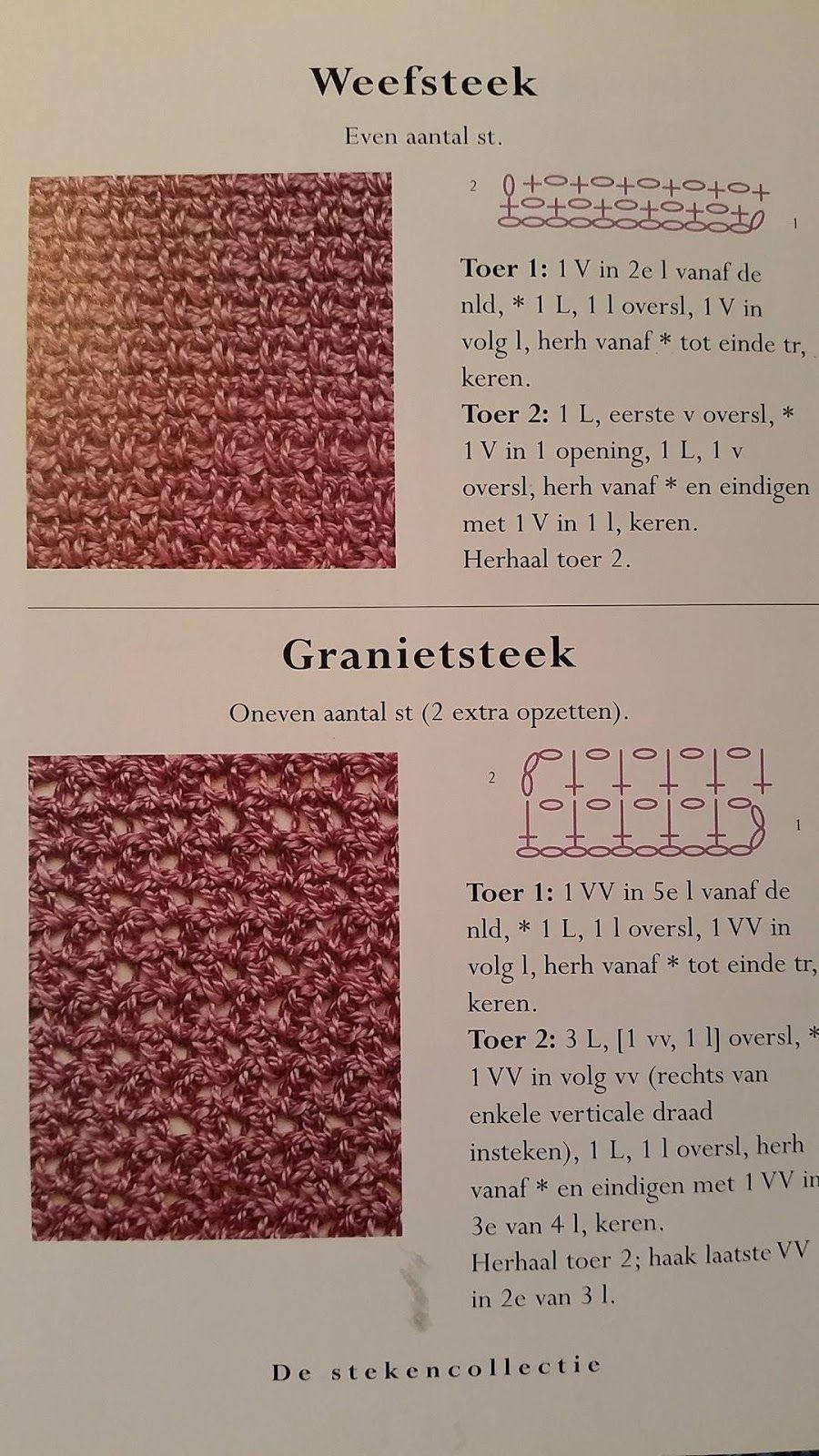 José Crochet Weefsteek Versus Granietsteek Haken Pinterest