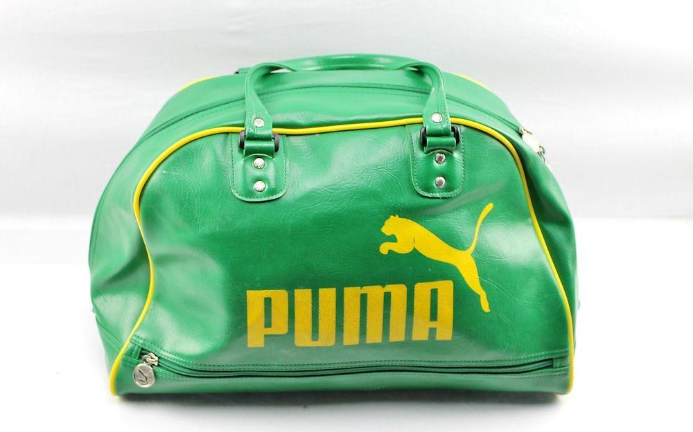 Retro style PUMA Green   Yellow Vinyl Gym Bag Tote Duffel  PUMA   DuffleGymBag 7f60c6e1853b7