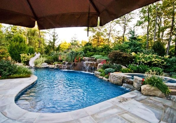 Plain Backyard Pools With Waterfalls And Slide Rock Waterfall On