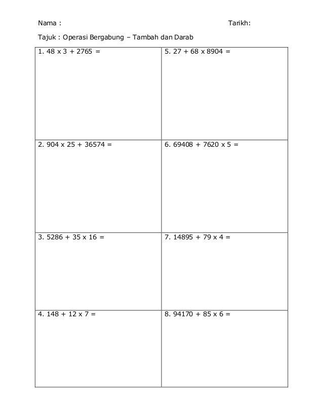 Lembaran Kerja Operasi Bergabung Tahun 5 Math Worksheets Worksheets Math