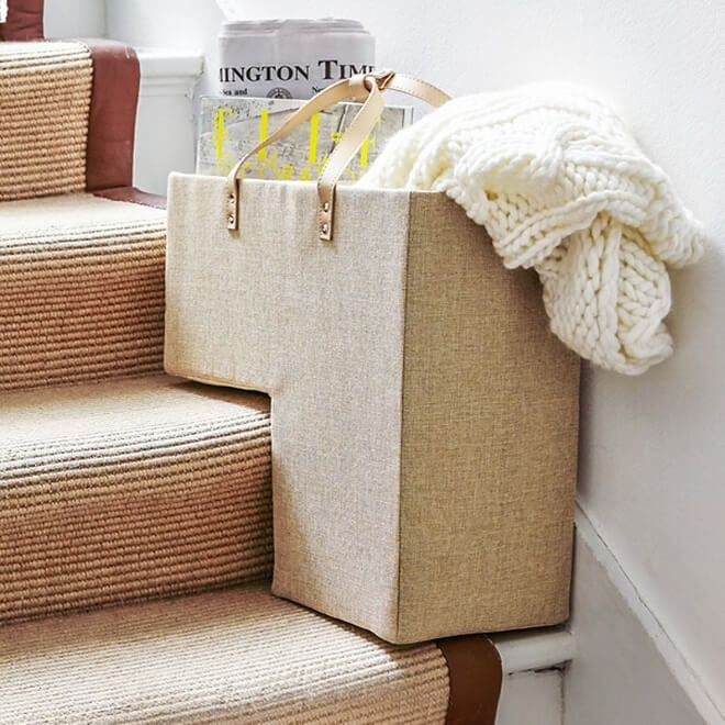 Bon Collapsible Canvas Fabric Stair Basket More
