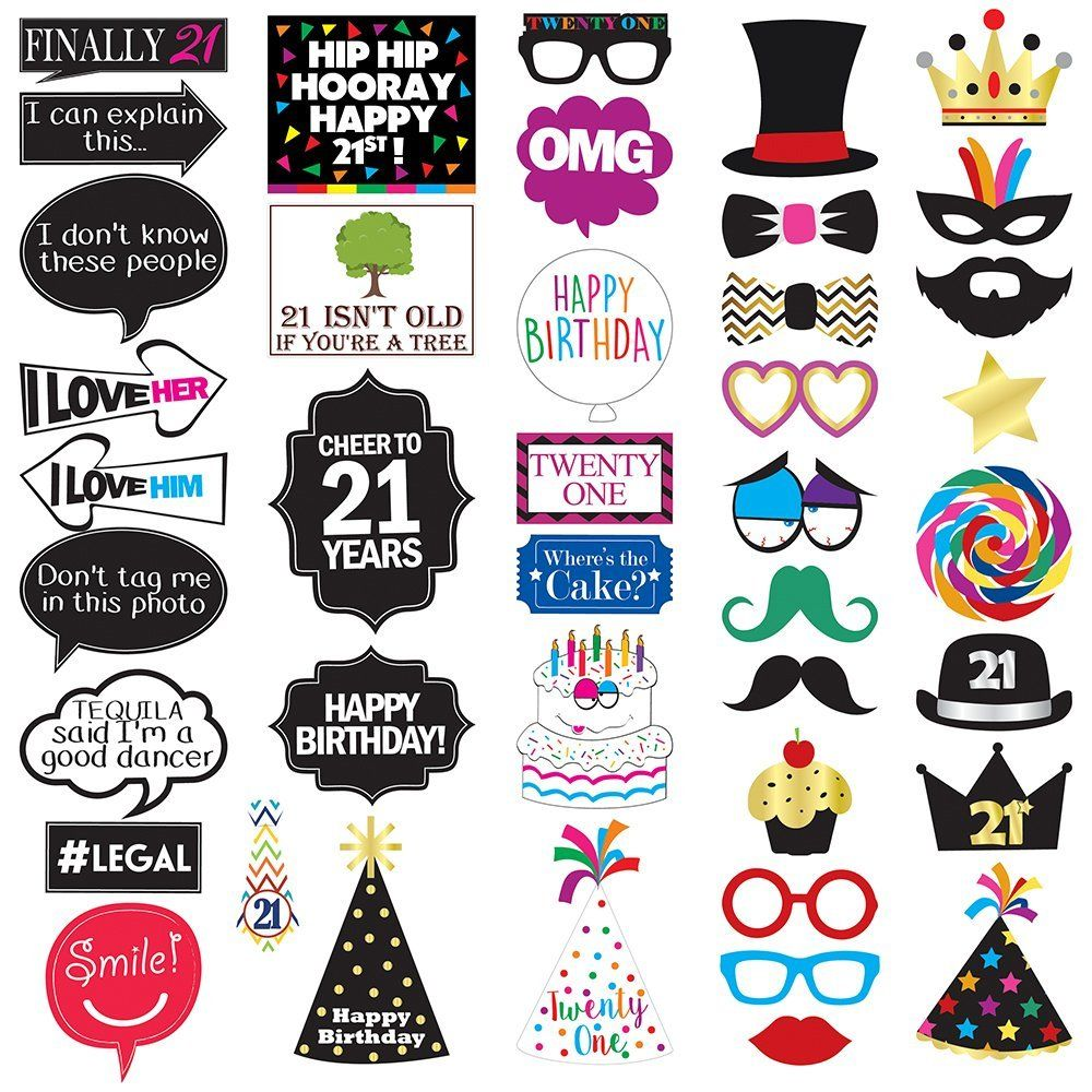 Amazon 21st Birthday Photo Booth Party Props