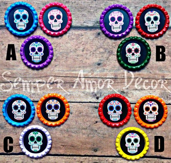 Sugar Skull Decor, Dia De Los Muertos Decor, Skull Decor, Skull Push Pin, Office Supply, Sugar Skull