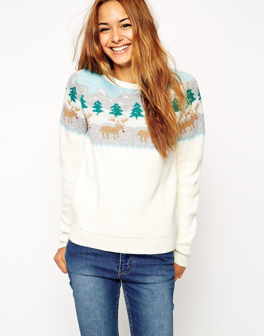 Christmas Jumper With Rudolph Winter Scene Christmas