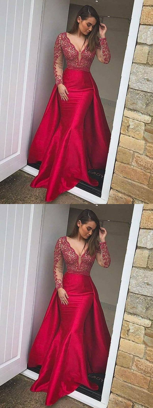 Mermaid v neck prom dress red cheap long prom dress vb